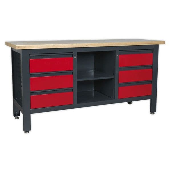 Sealey AP1905D Workstation with 6 Drawers and Open Storage