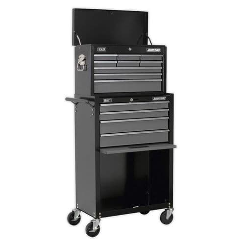 Sealey AP2513B Topchest and Rollcab Combination 13 Drawer with Ball Bearing Slides - Black/Grey