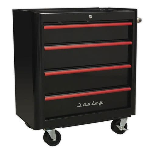Sealey AP28204BR Rollcab 4 Drawer Retro Style- Black with Red Anodised Drawer Pulls