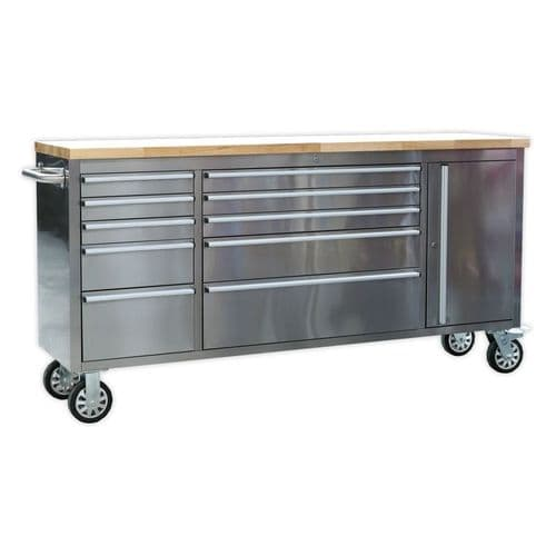 Sealey AP7210SS Mobile Stainless Steel Tool Cabinet 10 Drawer and Cupboard