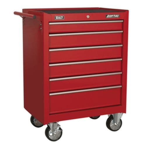 Sealey AP226 Rollcab 6 Drawer with Ball Bearing Slides - Red