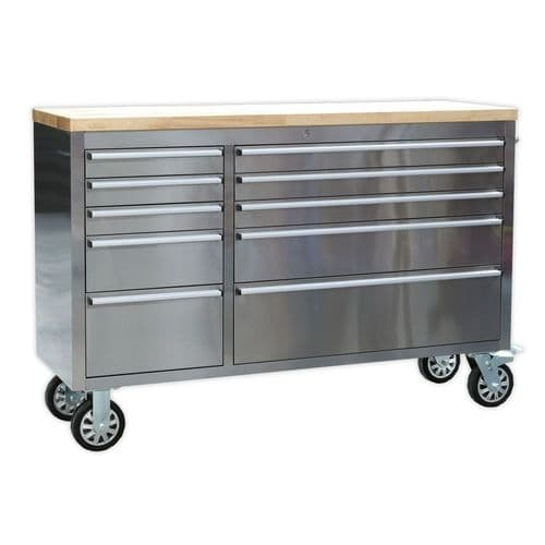 Sealey AP5510SS Mobile Stainless Steel Tool Cabinet 10 Drawer