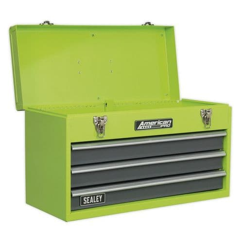 Sealey AP9243BBHV Tool Chest 3 Drawer Portable with Ball Bearing Slides - Hi-Vis Green
