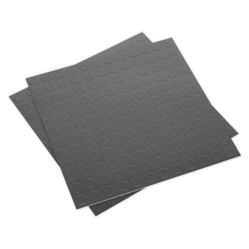 Sealey FT2S Vinyl Floor Tile with Peel and Stick Backing - Silver Coin Pack of 16
