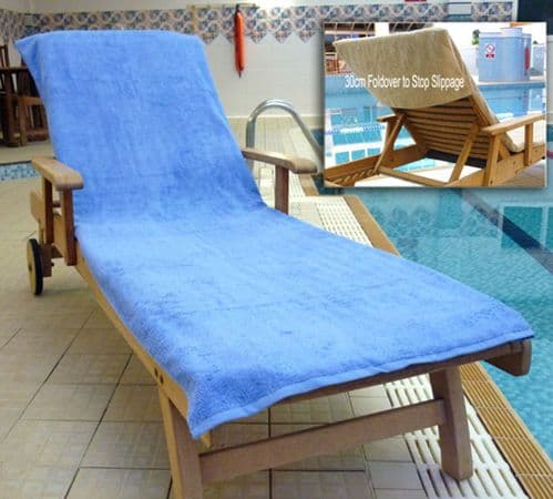 Bana Kuru Chlorine & Sun Resistant -  Full Length Sun Lounger Towel With 30cm Flap 400gsm Med Blue