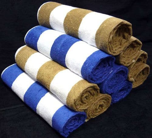 Chlorine Resistant, Traditional Pool Towel 75 x 155cm in Blue & White