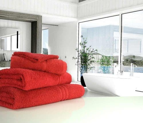 Great Quality Blue Label, 500gsm Bath Towel in Red