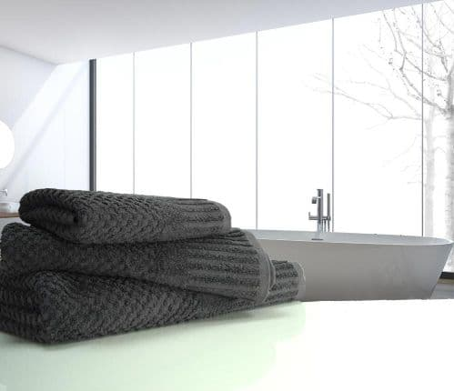 linenHall Spa, 450gsm Terry Waffle Spa Extra Long Bath Sheet Charcoal