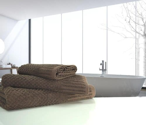 linenHall Spa, 450gsm Terry Waffle Spa Extra Long Bath Sheet Chocolate