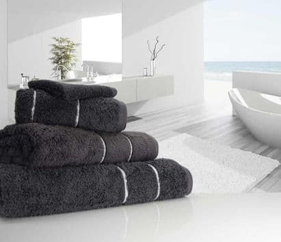 "linenHall ""Ultimate"" 700gsm Charcoal Hand Towel 50cm x 90cm"
