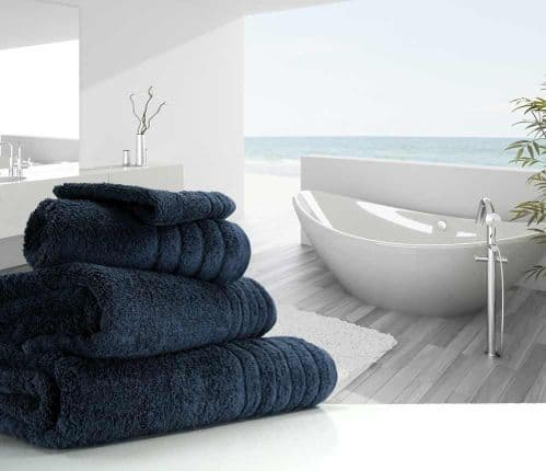 Luxurious linenHall, 650gsm Bath Towel in Dark Blue