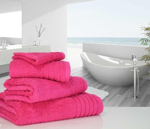 Luxurious linenHall, 650gsm Bath Towel in Hot Pink