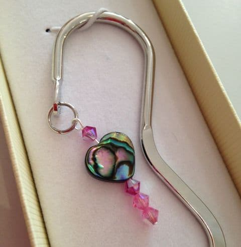 Bookmark - BOXED - Squiggle with Paua & Swarovski Crystal Charm