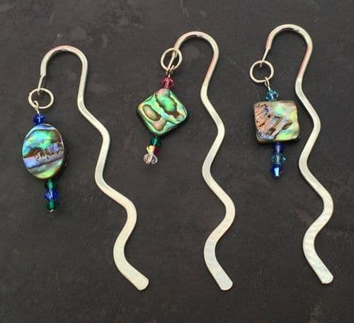 Bookmark - Mini Squiggle with Paua & Swarovski Crystal Charm