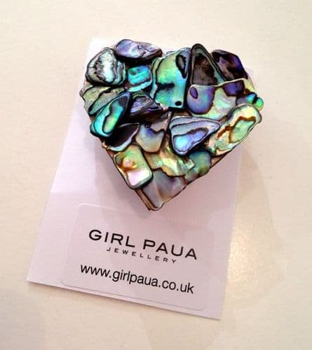 Brooch - Mosaic Heart - large 4cm