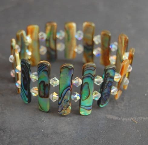 CUSTOMISABLE: Long Strips Paua Shell & Swarovski Crystal Bracelet PB01S
