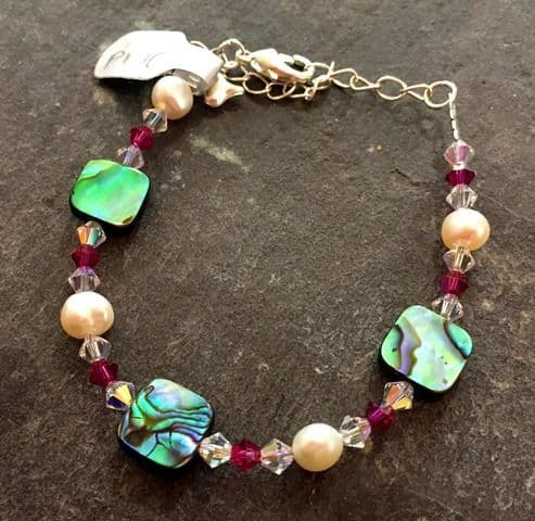 CUSTOMISABLE: Paua, Freshwater Pearl & Coloured Swarovski Crystal Bracelet PB10C