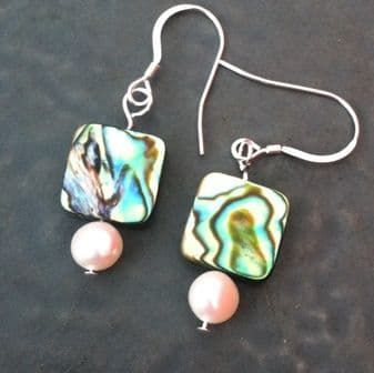 CUSTOMISABLE: Paua & Freshwater Pearl Earrings PE02-P