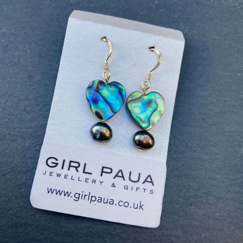 CUSTOMISABLE: Paua & Freshwater Pearl Earrings PE02-PP
