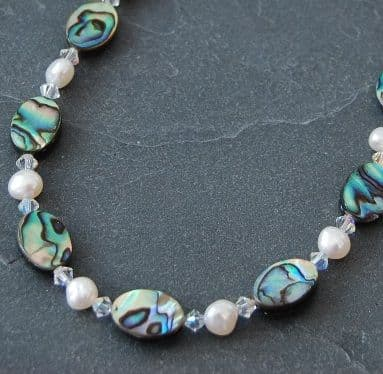 CUSTOMISABLE: Paua, Freshwater Pearl & Swarovski Necklace PN10 CLEAR AB