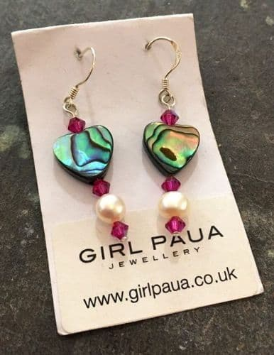 CUSTOMISABLE PE10 Paua, Pearl & Swarovski Earrings *choose paua shape and crystal colour*