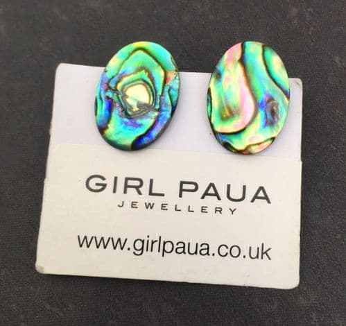 Earrings Clip On - Paua Stud Earrings - Large Oval Natural 18x13mm PE07-LVN