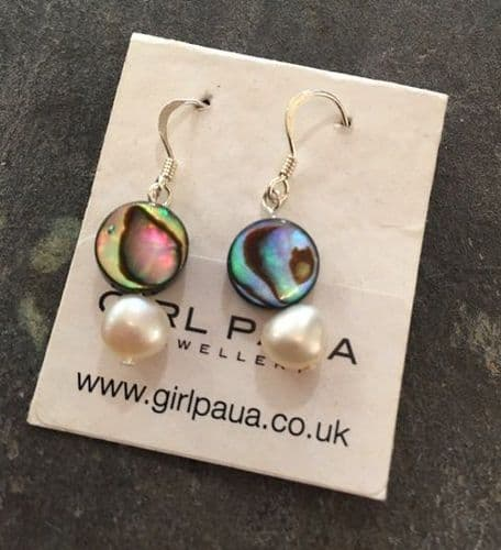 Earrings - Paua Circles & Freshwater Pearls - PE02-PC