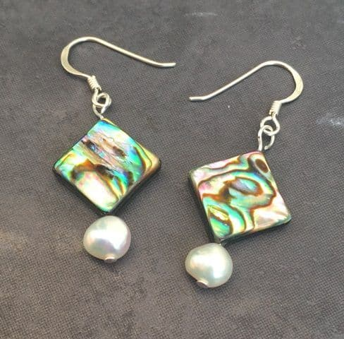 Earrings - Paua Diamonds & Freshwater Pearls - PE02-PD