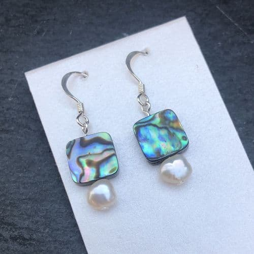 Earrings - Paua Squares & Freshwater Pearls - PE02-PQ