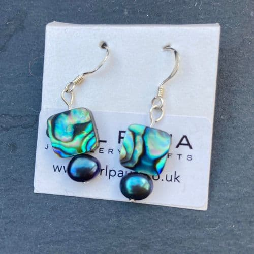 Earrings - Paua Squares & Peacock Freshwater Pearls - PE02-PPQ