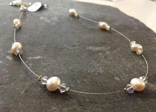 Necklace - Freshwater Pearl & Swarovski Crystal Floating Necklace