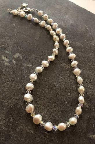 Necklace - Freshwater Pearl & Swarovski Crystal Necklace