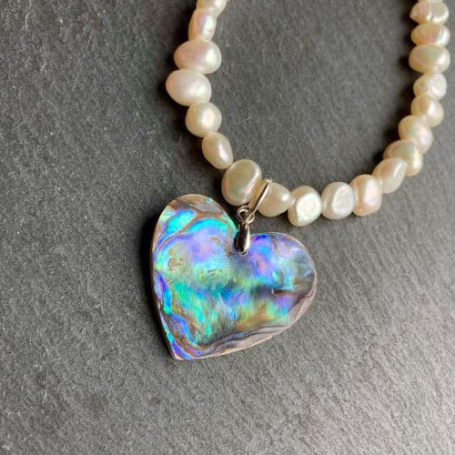 Necklace - Paua Heart & Freshwater Pearls - PN15-P