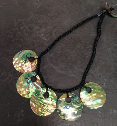 Necklace - Paua Hollow Pleated Necklace 5 piece - WAS £38 PN05