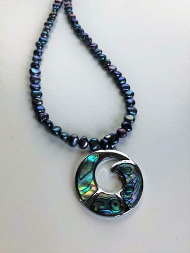 Necklace - Paua & Peacock Freshwater Pearls - PP01 ROUND SWIRL