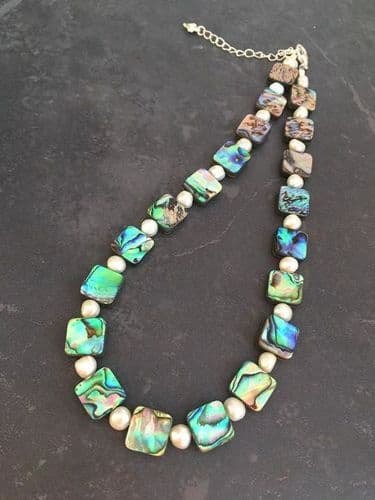 Necklace - Paua Squares & Freshwater Pearls - PFN13-Q