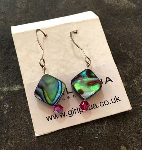PE01-D-S Paua & Swarovski Diamond Earrings  SHORT (FU)