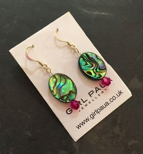 PE01-V Paua & Swarovski Oval Earrings SHORT (FU)