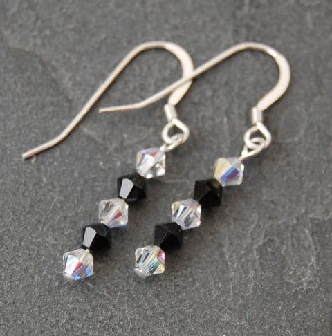 SE01 Swarovski AB Earrings (jet black AB/ clear AB) (1)