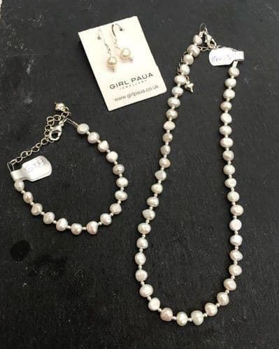 SET - Freshwater White Pearl & Silver Bead Necklace, Bracelet & Earring SET