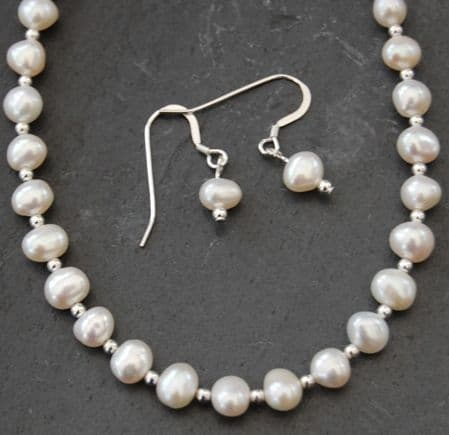 SET - Freshwater White Pearl & Silver Bead Necklace & Earring SET