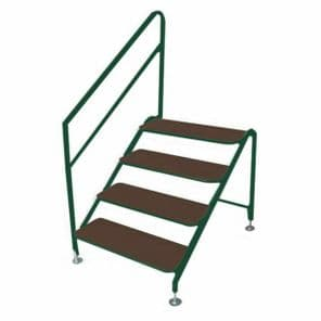 Static Caravan 4 Tread Steps  with Handrail, White or Green