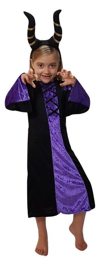 GIRLS HALLOWEEN GOTHIC WITCH COSTUME WITH NOSE ALL SIZES