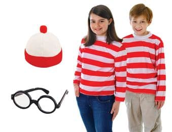 BOYS GIRLS WHERES WALLY FANCY DRESS COSTUME
