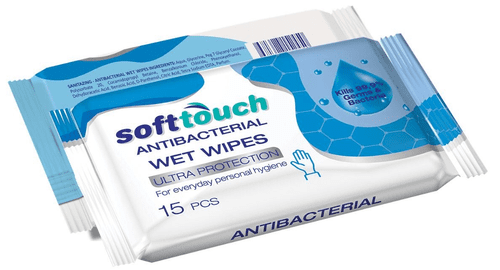 Soft Touch Antibacterial Wet Wipes 15pieces